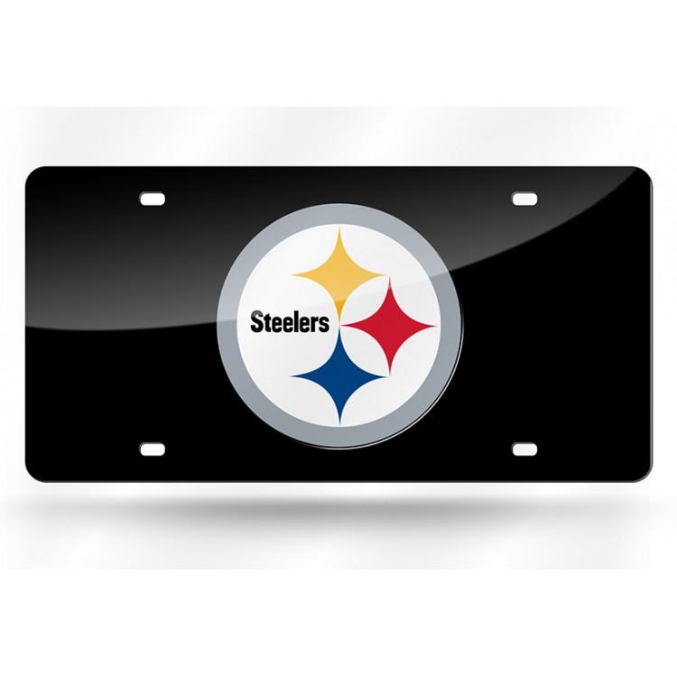 Pittsburgh Steelers Black Laser License Plate