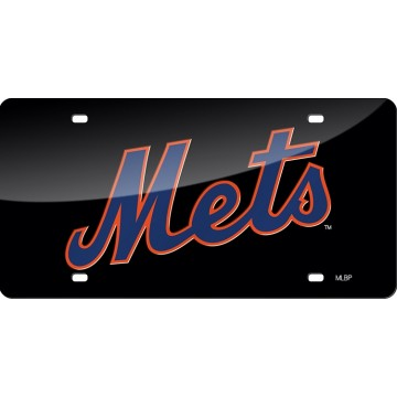 New York Mets Black Laser License Plate