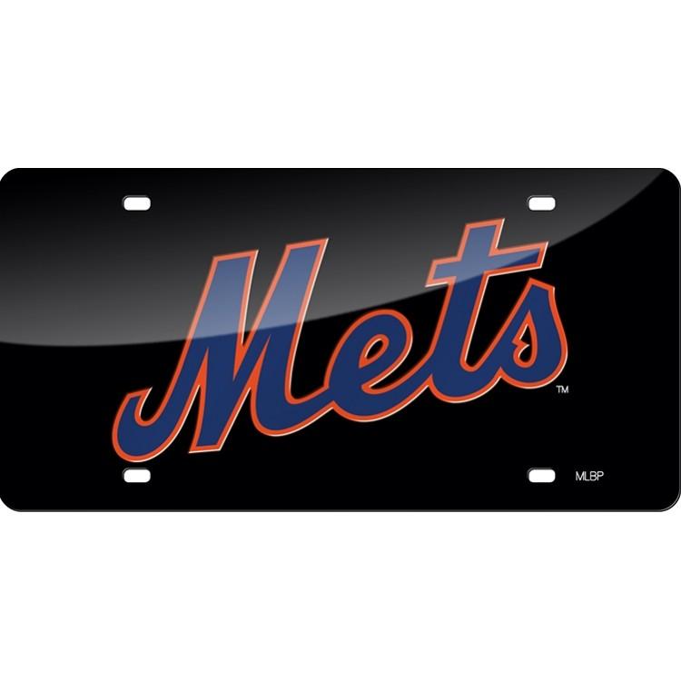 New York Mets Black Laser License Plate