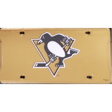 Pittsburgh Penguins Gold Laser License Plate