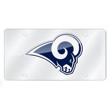 Los Angeles Rams Silver Laser License Plate