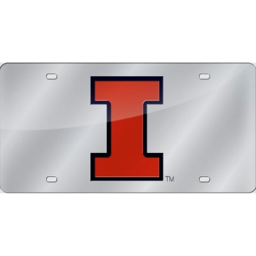 Illinois Fighting Illini Silver Laser License Plate