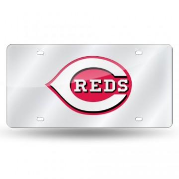 Cincinnati Reds Silver Laser License Plate