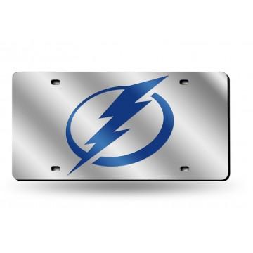 "Tampa Bay Lightning ""Circle Bolt"" Silver Laser License Plate"