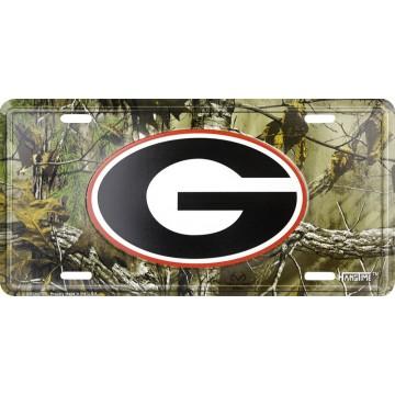 Georgia Bulldogs Camouflage Metal License Plate