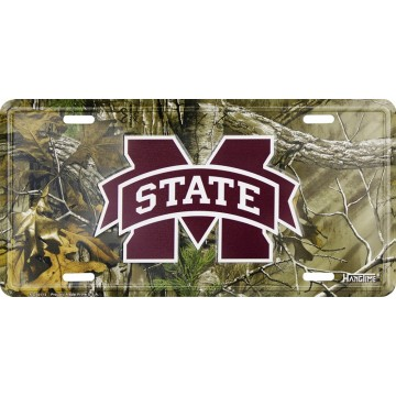 Mississippi State Bulldogs Woodland Metal License Plate