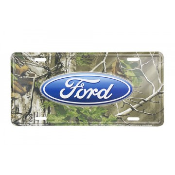 Ford Oval Logo Real Tree Metal License Plate