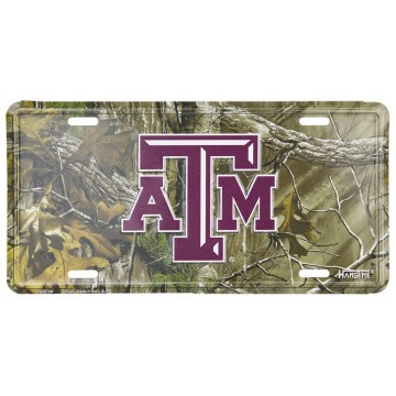 Texas A&M Woodland Metal License Plate