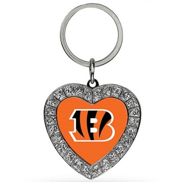 Cincinnati Bengals Bling Rhinestone Heart Keychain