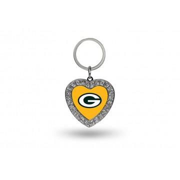 Green Bay Packers Bling Rhinestone Heart Key Chain