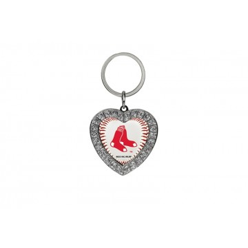 Boston Red Sox Bling Rhinestone Heart Key Chain
