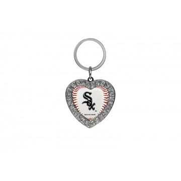 Chicago White Sox Bling Rhinestone Heart Key Chain