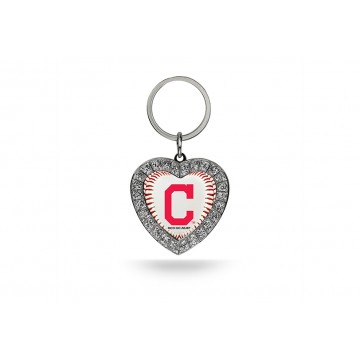 Cleveland Indians Bling Rhinestone Heart Key Chain