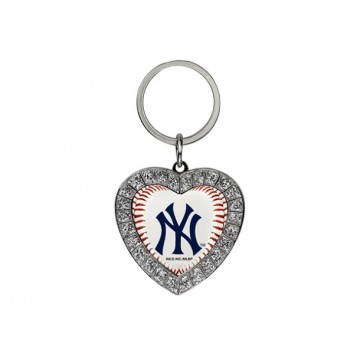 New York Yankees Bling Rhinestone Heart Key Chain