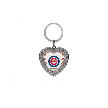 Chicago Cubs Bling Rhinestone Heart Key Chain