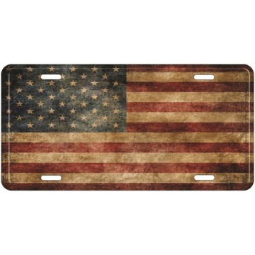 USA Vintage Flag Metal License Plate