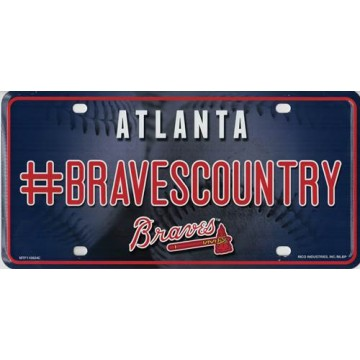 Atlanta Braves #BravesCountry Metal License Plate