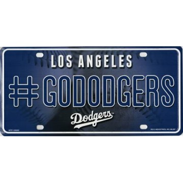 Los Angeles Dodgers #GoDodgers Metal License Plate