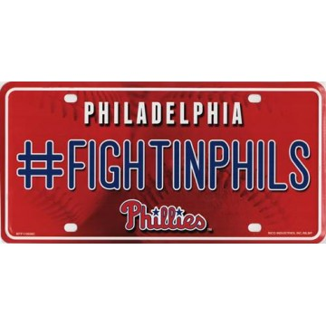 Philadelphia Phillies #FightinPhils Metal License Plate