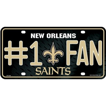 New Orleans Saints #1 Fan Metal License Plate