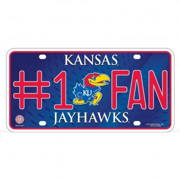Kansas Jayhawks #1 Fan Metal License Plate