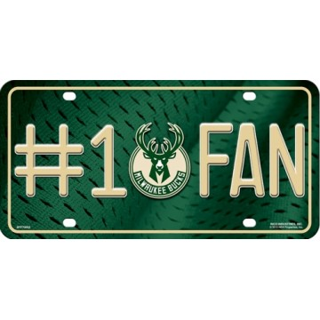 Milwaukee Bucks #1 Fan Metal License Plate