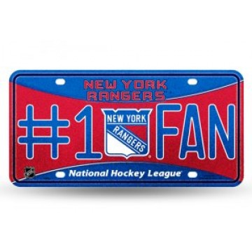 New York Rangers #1 Fan Glitter License Plate