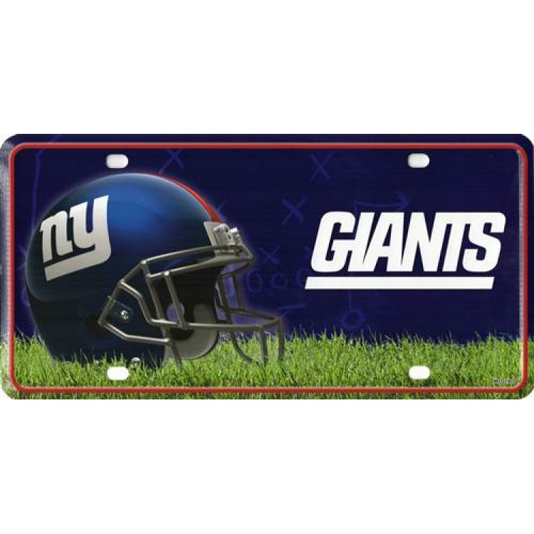 New york giants metal license plate for Nys fishing license prices