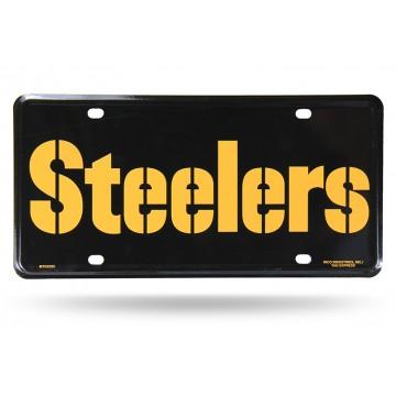 Pittsburgh Steelers Wordmark Metal License Plate