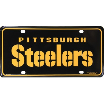 Pittsburgh Steelers Black Metal License Plate #2