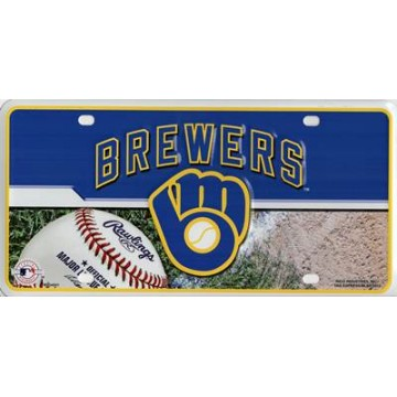 Milwaukee Brewers Metal License Plate