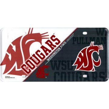 Washington State Cougars Metal License Plate
