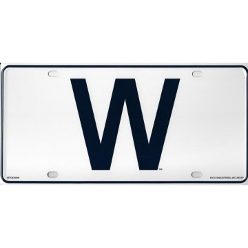 "Chicago Cubs ""W"" Metal License Plate"