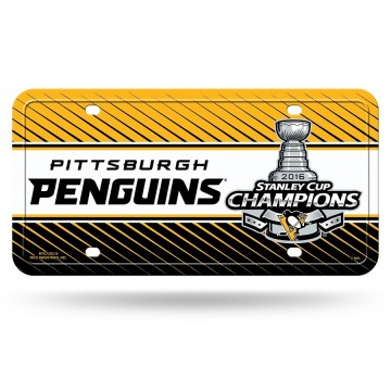Pittsburgh Penguins 2016 Stanley Cup Champs Metal License Plate