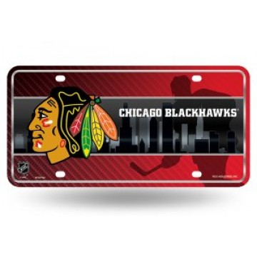 Chicago Blackhawks Metal License Plate