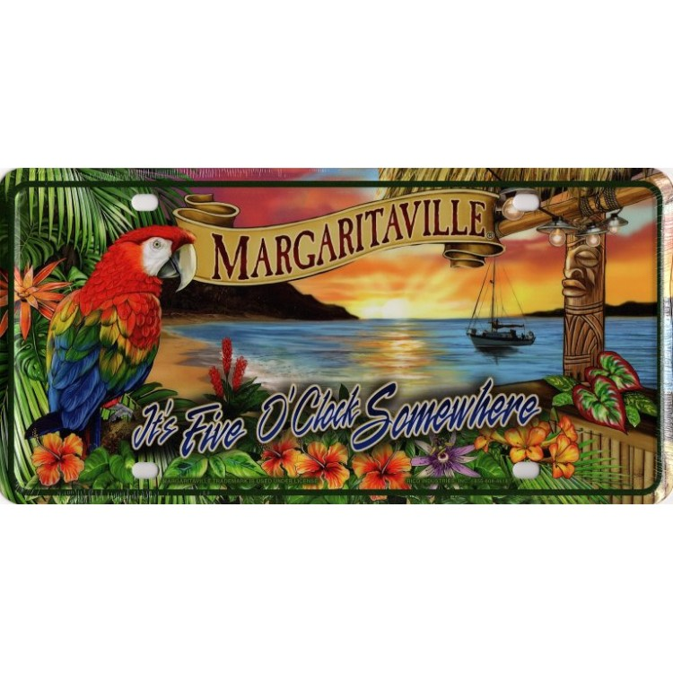 It's Five O'Clock Margaritaville Sunset License Plate