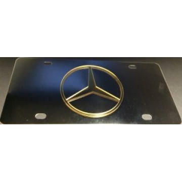 Mercedes Gold Logo Stainless Steel License Plate
