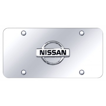 Nissan 3D Chrome Logo Stainless Steel License Plate