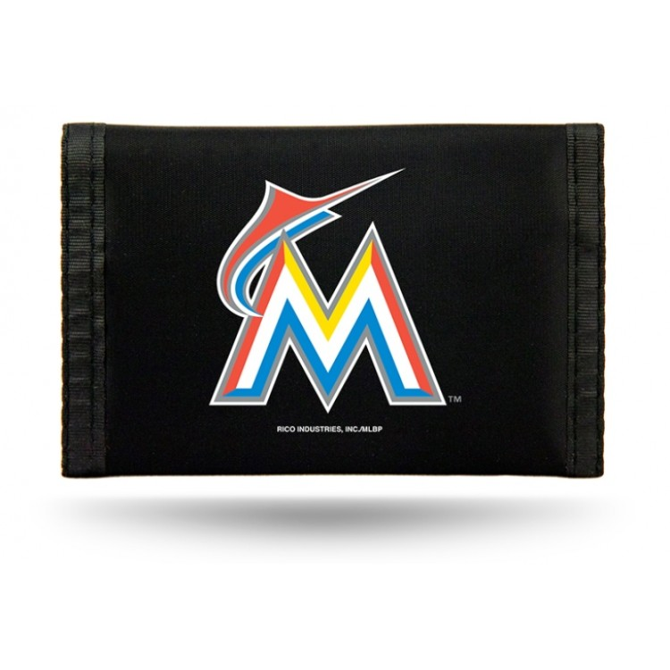 Miami Marlins Nylon Trifold Wallet