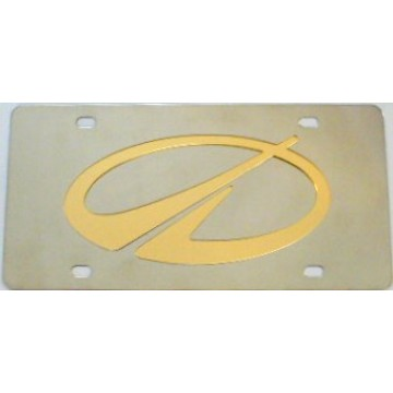 Oldsmobile Gold Logo Stainless Steel License Plate