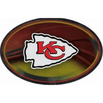 Kansas City Chiefs Chrome Die Cut Oval Decal