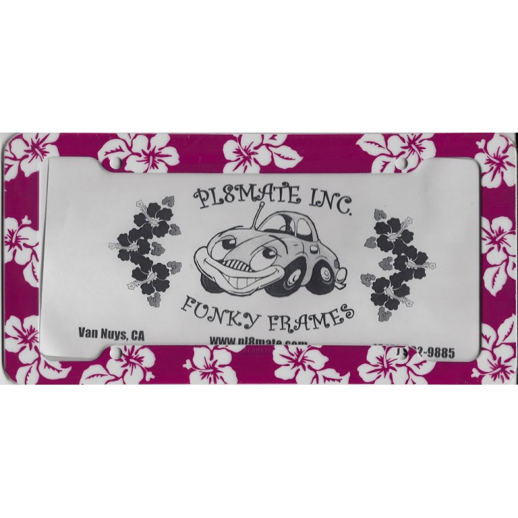 Pink Hibiscus Flowers Plastic License Plate Frame