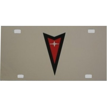 Pontiac Red / Black Logo Stainless  License Plate