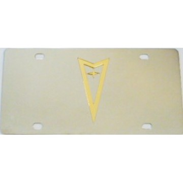 Pontiac Gold Logo Stainless Steel License Plate