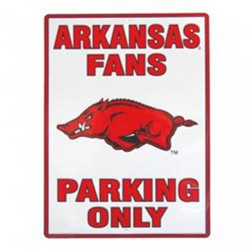 Arkansas Razorbacks Fans Only Metal Parking Sign