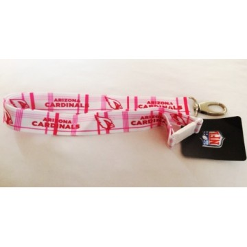 Arizona Cardinals Pink Plaid Lanyard With Safety Latch
