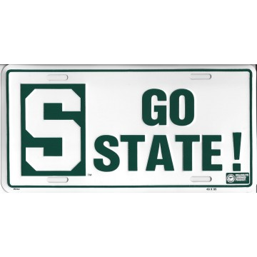 Michigan State Go State! Metal License Plate