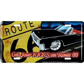 Route 66 Black Lincoln Metal License Plate