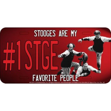 #1 STGE Red Metal License Plate