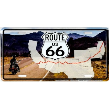 Route 66 Mountains Map Metal License Plate